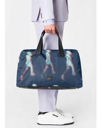 Paul Smith Navy 'walker' Print Canvas Weekend Bag - Blue