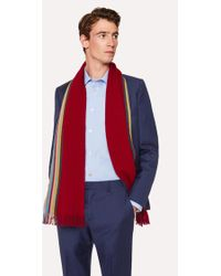 Paul Smith - Double-Face Red Striped-Edge Wool Scarf - Lyst