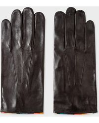 Paul Smith Dark Brown Leather Gloves With 'artist Stripe' Piping