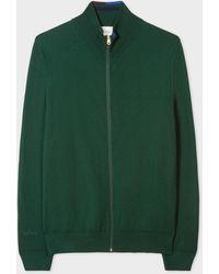 Paul Smith Dark Green Merino-wool Zip-through Cardigan