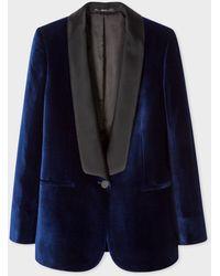 Paul Smith Navy Velvet Tuxedo Blazer With Satin Shawl Collar - Blue