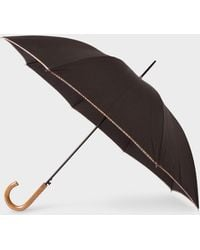 Paul Smith Black Signature Stripe Border Walker Umbrella With Wooden Handle