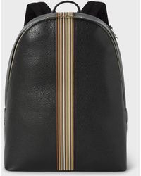 Paul Smith - Black Leather Signature Stripe Backpack - Lyst