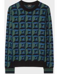 Paul Smith - Blue And Green Geometric Merino Wool-Blend Sweater - Lyst
