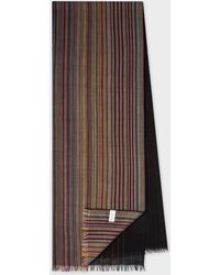 Paul Smith Gradient 'signature Stripe' Lambswool Scarf - Multicolour