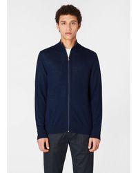Paul Smith Dark Navy Merino-wool Zip-through Cardigan - Blue