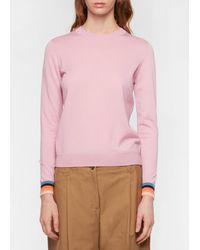 Paul Smith Pink Wool Sweater With 'artist Stripe' Cuffs - Blue
