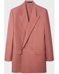 Paul Smith Brick Red Linen Longline Double-breasted Blazer