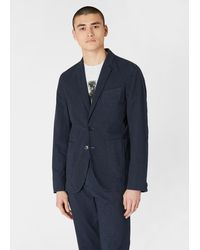 Paul Smith Mid-fit Navy Over-dyed Glen Check Blazer - Blue
