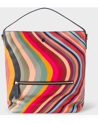 Paul Smith Women's 'swirl' Print Leather Hobo Bag - Multicolour