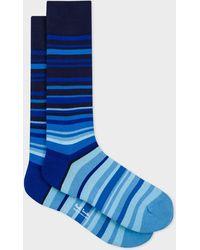 Paul Smith Blue Tonal Stripe Socks