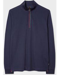 Paul Smith Navy Half-zip Long Sleeve Cotton Funnel Neck Top - Blue