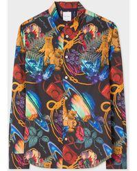Paul Smith Slim-fit 'explorer' Print Shirt - Blue