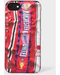 Paul Smith & Manchester United - 'vintage Scarf' Print Leather Iphone 6/6s/7/8 Case - Red