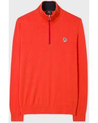 Paul Smith Orange 'zebra' Logo Funnel Neck Zip Sweater