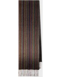 Paul Smith Muted 'signature Stripe' Cashmere Scarf - Multicolour