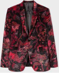 Paul Smith The Kensington - Slim-fit Red 'beetle Botanical' Print Velvet Blazer