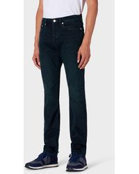 Paul Smith Tapered-fit 'crosshatch Stretch' Navy Over-dye Jeans - Blue