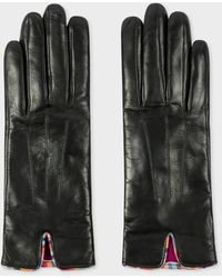 Paul Smith Black Leather Gloves With 'swirl' Piping