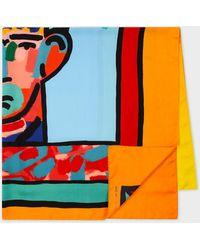 Paul Smith X John Booth - 'head' Print Silk Scarf - Multicolour