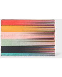 Paul Smith Mixed-stripe Leather Credit Card Holder - Multicolor