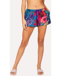Paul Smith - Turquoise 'Ocean' Print Swim Shorts - Lyst