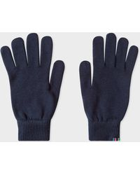 Paul Smith - Gants Bleu Marine En Laine D'Agneau - Lyst