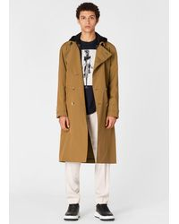 Paul Smith Camel Double-breasted Iridescent Cotton Trench Coat - Natural
