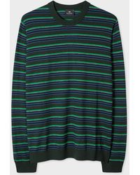 Paul Smith Khaki Block Stripe Merino-wool Sweater - Green