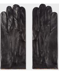 Paul Smith - Black Leather Gloves With 'Signature Stripe' Piping - Lyst