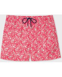 Paul Smith Red 'liberty Floral' Print Swim Shorts