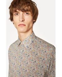 Paul Smith - Classic-Fit 'Micro Floral' Print Shirt With Paisley Cuff Lining - Lyst