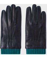 Paul Smith Navy Deerskin Silk-cashmere Lined Gloves - Blue