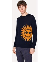 Paul Smith - Navy Merino Wool Jumper With 'Sun' Intarsia - Lyst