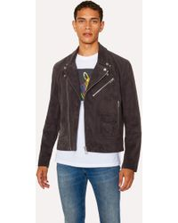 b4adc53b9aac8a Paul Smith - Slate Grey Suede Leather Asymmetric-Zip Biker Jacket - Lyst
