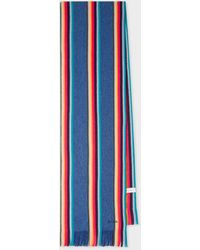 Paul Smith Écharpe Bleu Marine 'Artist Stripe' En Laine
