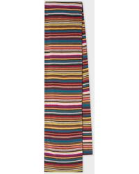 Paul Smith Signature Stripe Wool And Cashmere-blend Scarf - Blue