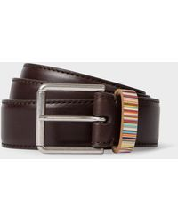 Paul Smith Dark Brown Leather Belt With 'signature Stripe' Keeper