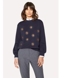 Paul Smith - Navy Cotton Sweatshirt With 'Sun' Embroidery - Lyst