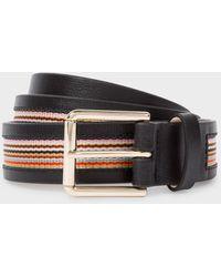 Paul Smith Black 'signature Stripe' Trim Leather Belt