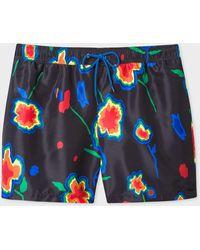 Paul Smith Black 'heat Map Floral' Print Swim Shorts