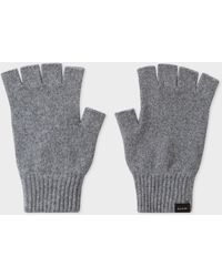 Paul Smith Grey Cashmere And Merino Wool Fingerless Gloves - Gray