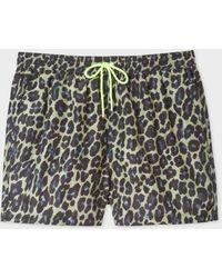 Paul Smith Lime 'leopard' Motif Swim Shorts - Multicolour