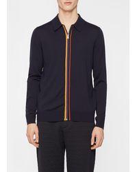 Paul Smith Black Merino Wool 'artist Stripe' Zip-through Cardigan