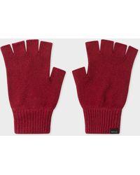 Paul Smith Burgundy Cashmere And Merino Wool Fingerless Gloves - Red
