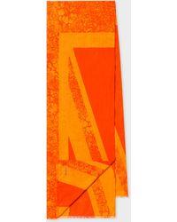 Paul Smith Orange 'union Jack' Cotton Scarf