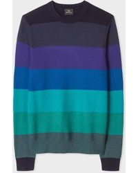Paul Smith - Blue Tonal Stripe Crew Neck Wool-Blend Jumper - Lyst