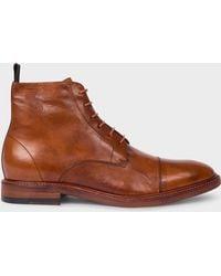 Paul Smith Tan Calf Leather 'jarman' Boots - Brown