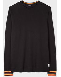 Paul Smith Black Jersey Cotton Long-sleeve Top With 'artist Stripe' Cuffs