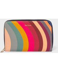 Paul Smith - Medium 'swirl' Print Leather Zip-around Purse - Lyst